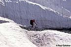 Mountain Biker riding through snow