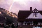 The Depot with Mt. Crested Butte and rainbow in background
