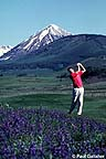 Golfer with wildflowers