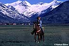 Horseback rider with town in background